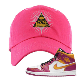 Air Jordan 1 Mid Familia Dad Hat | All Seeing Eye, Hot Pink