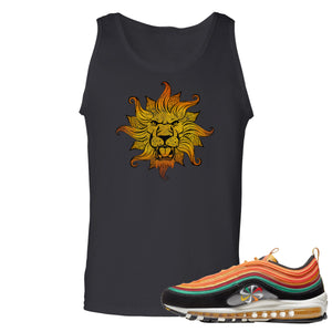 Printed on the front of the Air Max 97 sunburst black sneaker matching tank top is the Vintage Lion Head logo