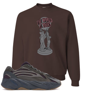 Yeezy Boost 700 Geode Sneaker Hook Up The World Is Yours Brown Crewneck Sweater