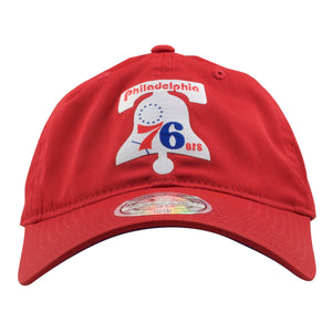 on the front of the Philadelphia 76ers red poly dad hat is the Philadelphia 76ers Liberty Bell logo in white, red, and blue