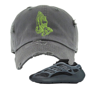 Yeezy 700 v3 Alvah Distressed Dad Hat | Dark Gray, Praying Hands