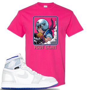 Jordan 1 High Zoom Racer Blue Sneaker Heliconia T Shirt | Tees to match Air Jordan 1 High Zoom Racer Blue Shoes | Bonsai Racer