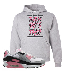 WMNS Air Max 90 Rose Pink Them 90s Tho Ash Pullover Hoodie To Match Sneakers