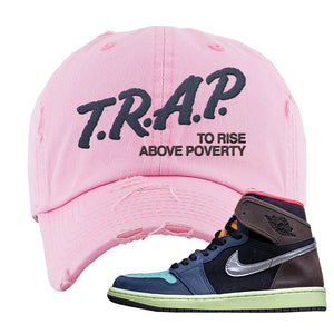 Air Jordan 1 Retro High OG 'Bio Hack' Distressed Dad Hat | Pink, Trap To Rise Above Poverty