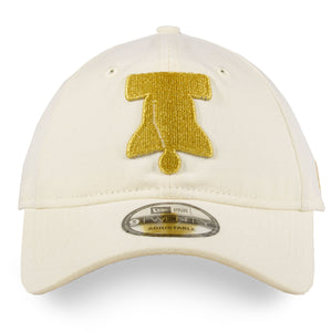 front of Sixers Snapback hat  Phildelphia 76ers vintage white Dad hat with gold embroidery New era 920