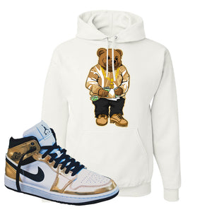 Air Jordan 1 Mid SE Metallic Gold Hoodie | Sweater Bear, White