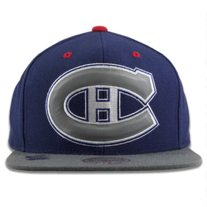 Montreal Canadiens Navy Blue on Gray Reflective Snapback Hat