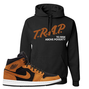 Air Jordan 1 Mid Wheat Hoodie | Trap To Rise Above Poverty, Black