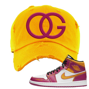 Air Jordan 1 Mid Familia Distressed Dad Hat | OG, Gold