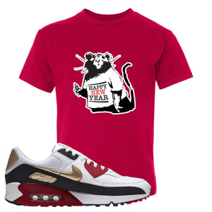 Air Max 90 Chinese New Year Kid's T Shirt | Deep Red, Happy New Year Rat