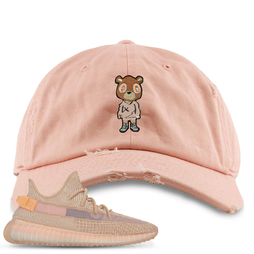 Yeezy Boost 350 Clay V2 Sneaker Match Yeezy Bear Peach Distressed Dad Hat