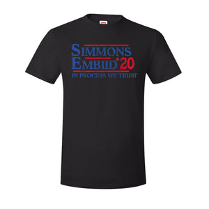 Simmons Embiid 2020 T-Shirt | Ben Simmons Joel Embiid 2020 Black T-Shirt the front of this shirt has the simmons embiid 2020 logo