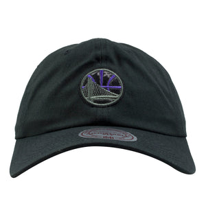 on the front of the golden state warriors sneaker matching black space jam 11 dad hat is the golden state warriors logo in black patent leather and purple embroidery