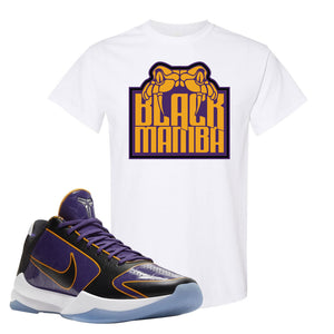 Kobe 5 Protro 5x Champ T Shirt | Black Mamba, White