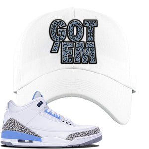 Jordan 3 UNC Sneaker White Dad Hat | Hat to match Nike Air Jordan 3 UNC Shoes | Got Em