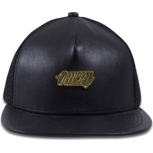 Official Gold Plate Black Leather Mesh-Back Trucker Hat