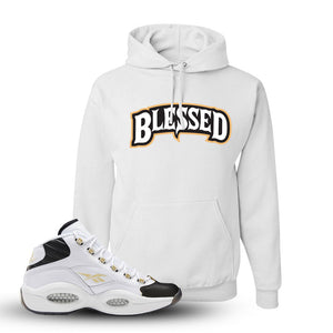 Question Mid Black Toe Sneaker White Pullover Hoodie | Hoodie to match Reebok Question Mid Black Toe Shoes | Blessed Arch