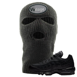 Air Max 95 Essential Black/Dark Grey/Black Sneaker Dark Grey Ski Mask | Winter Mask to match Nike Air Max 95 Essential Black/Dark Grey/Black Shoes | Vintage Oval