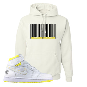 Air Jordan 1 First Class Flight First Class Barcode White Sneaker Matching Pullover Hoodie