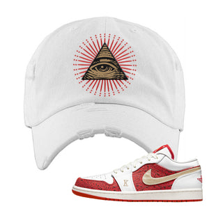 Air Jordan 1 Low Spades Distressed Dad Hat | All Seeing Eye, White