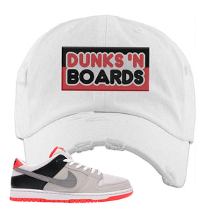 Nike SB Dunk Low Infrared Orange Label Dunks N Boards White Distressed Dad Hat To Match Sneakers
