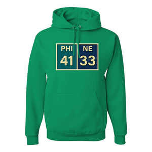 Eagles Superbowl Score Pullover Hoodie | Eagles Superbowl Scorecard Kelly Green Pullover Hoodie the front of this hoodie has the superbowl score on it