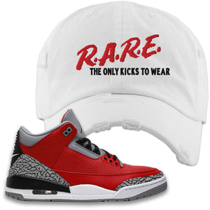Jordan 3 Red Cement Distressed Dad Hat | White, Rare