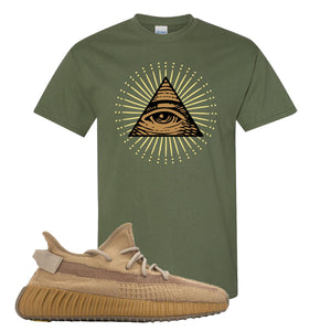 Yeezy Boost 350 V2 Earth Sneaker T-Shirt To Match | All Seeing Eye, Military Green