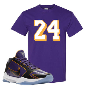 Kobe 5 Protro 5x Champ T Shirt | 24, Deep Purple