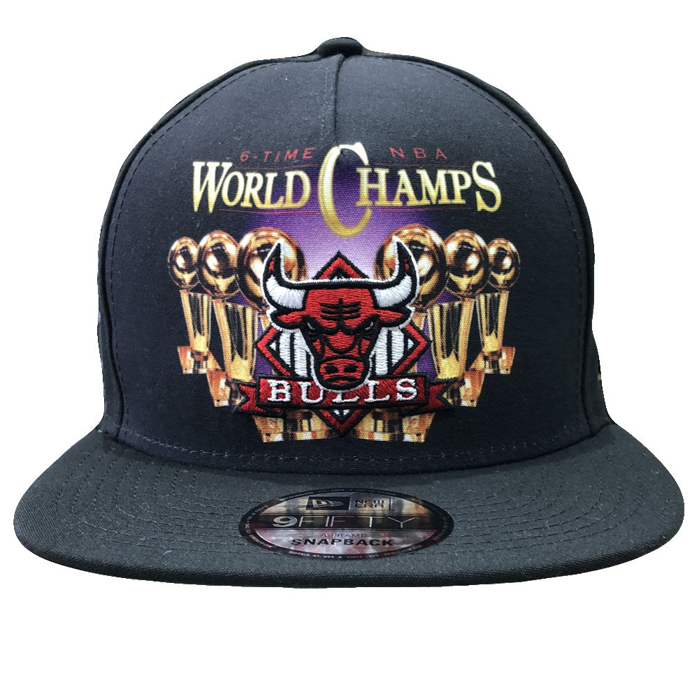 On the front of the Chicago Bulls Trucker snapback hat is the World Champs  printed logo 1461bc7643b