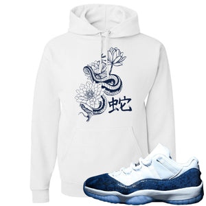 Jordan 11 Low Blue Snakeskin Snake With Lotus Flowers White Hoodie