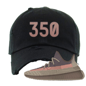 Yeezy 350 v2 Ash Stone Distressed Dad Hat | 350, Black