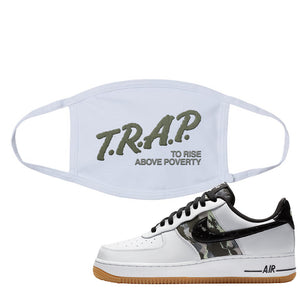 Air Force 1 Low Camo Face Mask | Trap To Rise Above Poverty, White