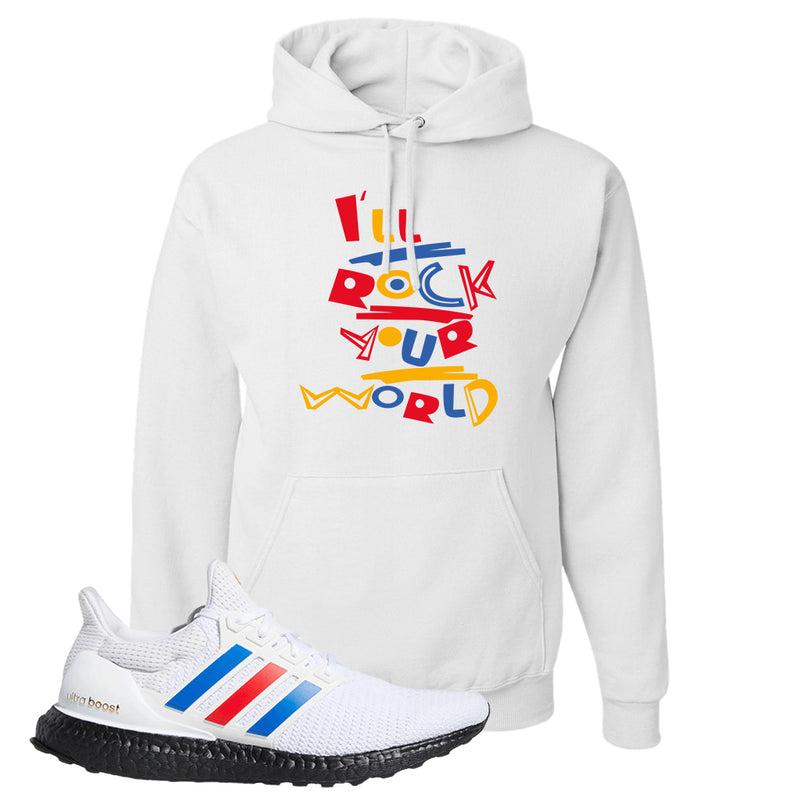 Ultra Boost White Red Blue Hoodie | White, I'll Rock Your World