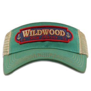 Wildwood New Jersey 1912 Double Anchors Patch Vacation Resort Teal / Khaki Mesh Visor