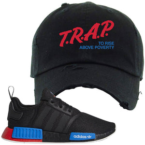 NMD R1 Black Red Boost Matching Distressed Dad Hat | Sneaker Distressed Dad Hat to match NMD R1s | Trap To Rise Above Poverty, Black