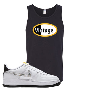 Air Force 1 Tank Top | Black, Vintage Oval