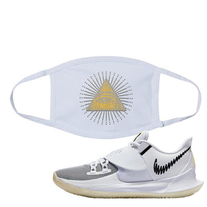 Kyrie Low 3 Face Mask | White, All Seeing Eye