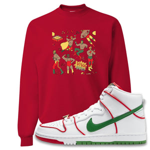 Paul Rodriguez's Nike SB Dunk High Sneaker Red Crewneck Sweatshirt | Crewneck to match Paul Rodriguez's Nike SB Dunk High Shoes | Luchadors