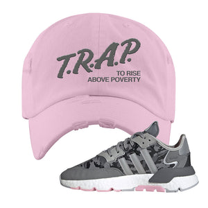 WMNS Nite Jogger True Pink Camo Distressed Dad Hat | Light Pink, Trap to Rise Above Poverty