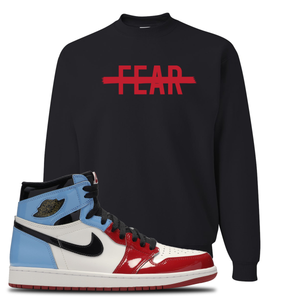 Air Jordan 1 Fearless Fear Crossed Out Black Made to Match Crewneck Sweatshirt