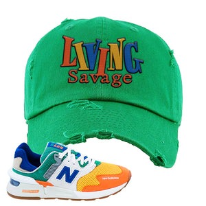 997S Multicolor Sneaker Kelly Distressed Dad Hat | Hat to match New Balance 997S Multicolor Shoes | Living Savage