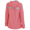 the coral windbreaker zip up women's jacket has a pink hood and a reflective band across the shoulder blades