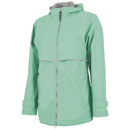 the front of the women's reflective mint zip-up windbreaker is a reflective zipper