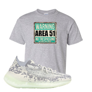 Yeezy 380 Alien Kid's T Shirt | Sport Gray, Area 51 Sign