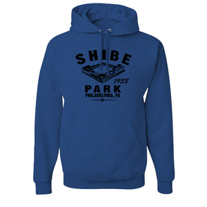 Shibe Park Retro Pullover Hoodie | Shibe Park Vintage Royal Blue Pull Over Hoodie the front of this pullover hoodie has shibe park on the front in blue