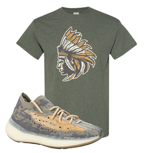 Yeezy Boost 380 Mist Sneaker Heather Military Green T Shirt | Tees to match Adidas Yeezy Boost 380 Mist Shoes | Indian Chief