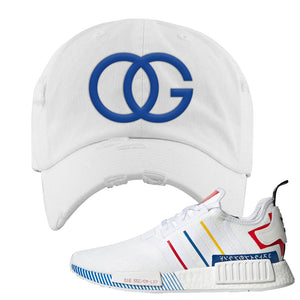 NMD R1 Olympic Pack Distressed Dad Hat | White, OG