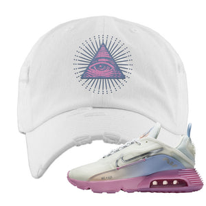 Air Max 2090 Airplane Travel Distressed Dad Hat | All Seeing Eye, White