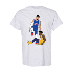 Simmons Step Over Tee Shirt | Ben Simmons Step Over Ash T-Shirt the front of this shirt has the simmons stepover design